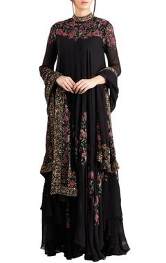Nakul Sen Black & pink floral bead & sequin embroidered kurta set