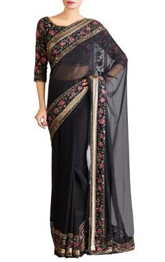 Black pink shaded chiffon floral sari with blouse
