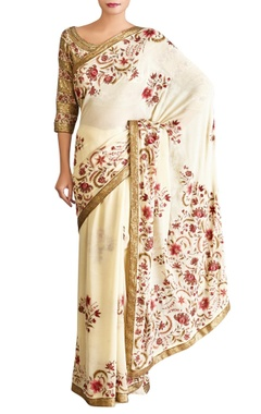 yellow chiffon embroidered sari with blouse