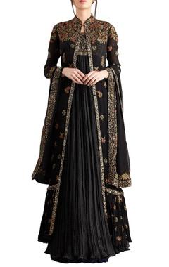 Nakul Sen Black chiffon boota embroidered jacket with kurta lehenga
