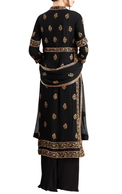 Black chiffon boota embroidered sharara set