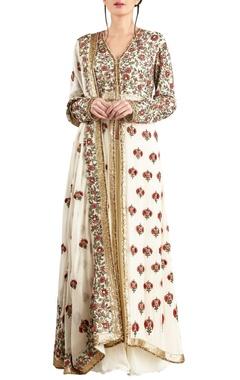 Nakul Sen Off white chiffon embroidered jacket with palazzo & dupatta