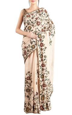 Nakul Sen Peach chiffon embroidered sari & blouse