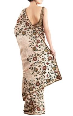 Peach chiffon embroidered sari & blouse