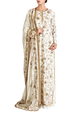 Off-white iranian zari kaftan set