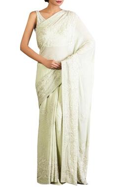 Nakul Sen Mint green lucknowi threadwork chiffon sari with blouse