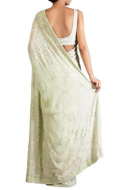Mint green lucknowi threadwork chiffon sari with blouse