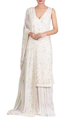 Nakul Sen Off-white lucknowi pearl & sequin embellished kurta set
