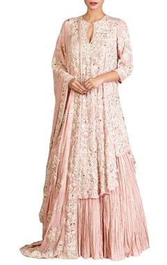 Nakul Sen Pink lucknowi pearl embellished chiffon kurta & dupatta