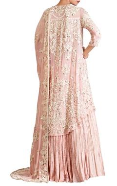 Pink lucknowi pearl embellished chiffon kurta & dupatta