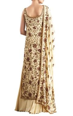 Yellow sequin embellished chiffon kurta set