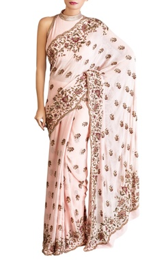 pink chiffon sequin sari with blouse