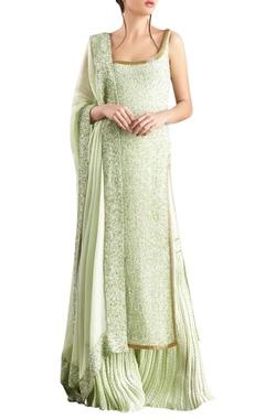 Nakul Sen Mint green sequin & kachra bead embellished chiffon kurta set