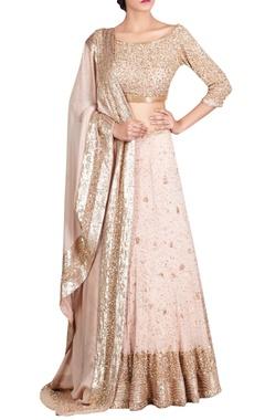 Nakul Sen Pink chiffon kachra bead embellished lehenga set