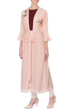 Wine red linen silk kurta with baby pink embroidered mastani jacket