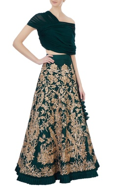 Green raw silk & georgette lehenga with blouse