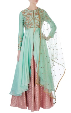 Joy Mitra Mint green anarkali set