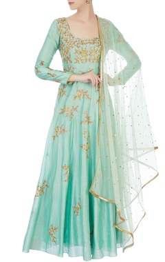 Mint blue chanderi sequin anarkali with dupatta