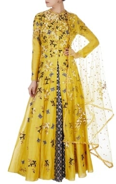 Yellow front open jacket anarkali set