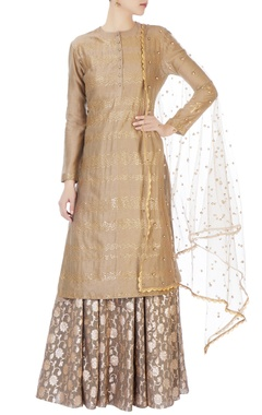 Joy Mitra Grey sequin embellished kurta & skirt set