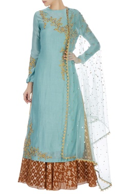 Joy Mitra Mint blue chanderi sequin kurta set