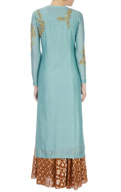 Mint blue chanderi sequin kurta set