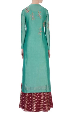 Green chanderi kurta & skirt set