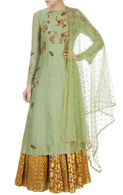 Joy Mitra Green butterfly motif kurta & skirt set