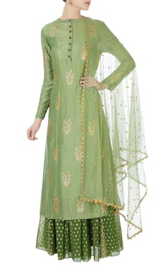 Joy Mitra Green sequin kurta with skirt & net dupatta