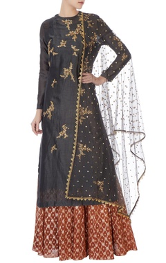 Joy Mitra Black chanderi kurta with skirt & dupatta