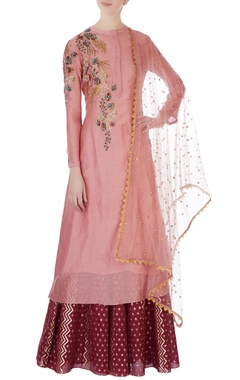Joy Mitra Pink chanderi kurta set