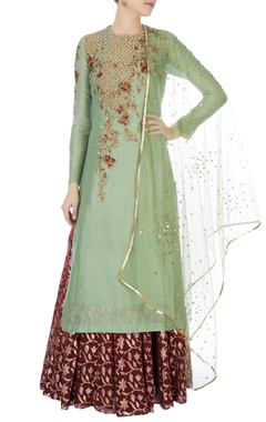 Joy Mitra Green chanderi kurta with skirt & dupatta