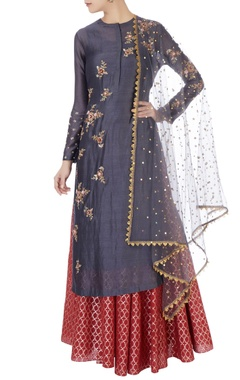 Joy Mitra Grey chanderi kurta set