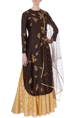Joy Mitra Brown sequin kurta & skirt set