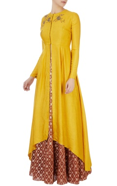 Joy Mitra Yellow high low chanderi kurta