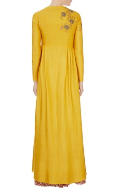 Yellow high low chanderi kurta