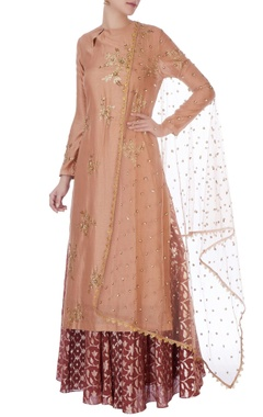 Joy Mitra Brown & pink sequin jacket & lehenga with dupatta