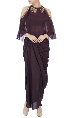 Joy Mitra Black dhoti set with burgundy embellished cape