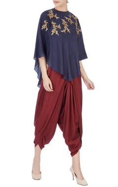 Joy Mitra Brown halter blouse with dhoti pants & indigo cape
