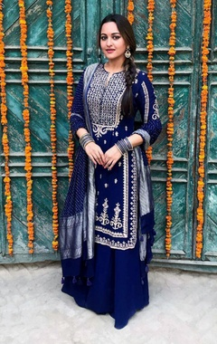 Blue georgette & silk embroidered sharara set