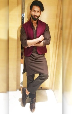 brown silk asymmetric kurta with pants and bandi
