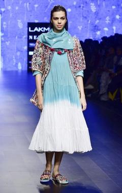 Blue mulmul tassel scarf