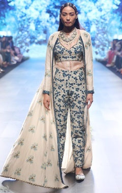 beige & blue chanderi, raw silk & organza thread sequin work pants with jacket and shirt