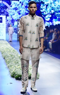 beige & blue raw silk & organza sequince kurta with pants