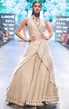 Beige raw silk & organza embroidered lehenga with overlap jacket