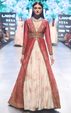 SVA - Sonam and Paras Modi Pink & beige chanderi embroidered lehenga with tea green belt