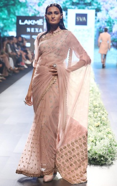 SVA - Sonam and Paras Modi Old rose raw silk & organza embellished sari with button up shirt