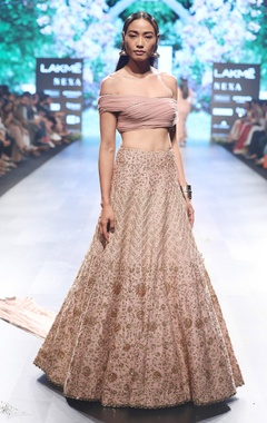 SVA - Sonam and Paras Modi Old rose raw silk & silk embroidered lehenga