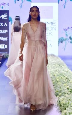 pink organza v-neck dress with jacket