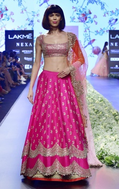 Magenta raw silk lehenga set